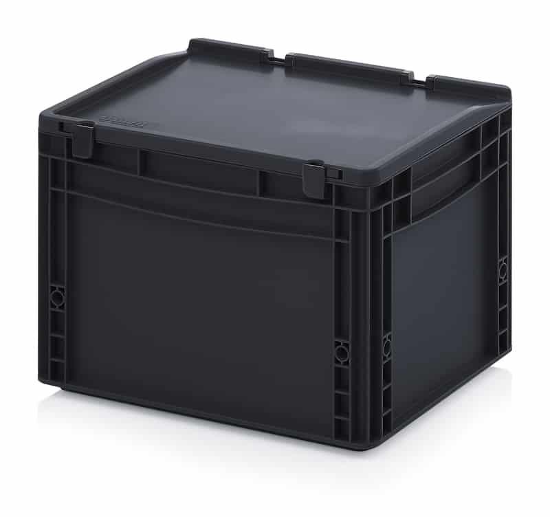 ESD-Eurobehälter / Eurobox mit Scharnierdeckel 40 x 30 x 28,5 cm AUER packaging