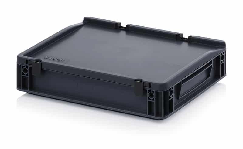 ESD-Eurobehälter / Eurobox mit Scharnierdeckel 40 x 30 x 9 cm AUER packaging