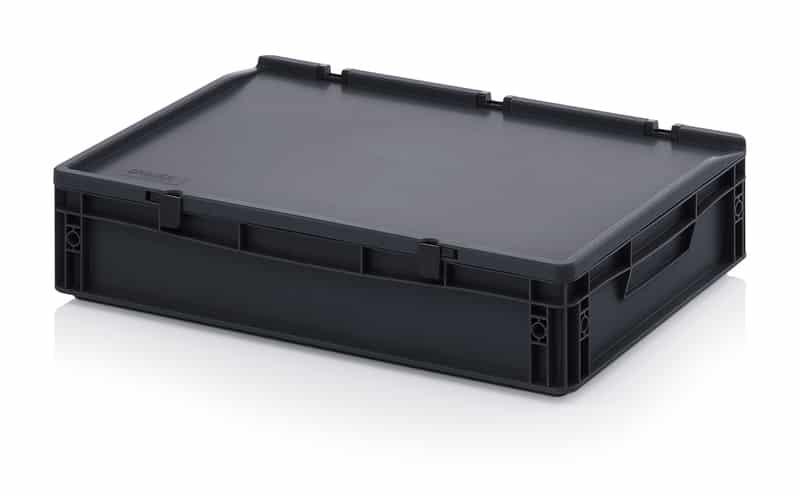 ESD-Eurobehälter / Eurobox mit Scharnierdeckel 60 x 40 x 13,5 cm AUER packaging