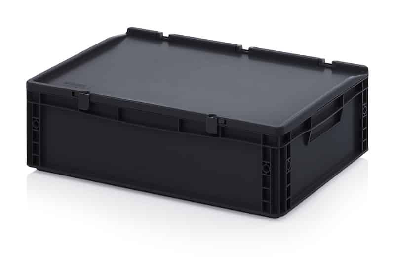 ESD-Eurobehälter / Eurobox mit Scharnierdeckel 60 x 40 x 18,5 cm AUER packaging