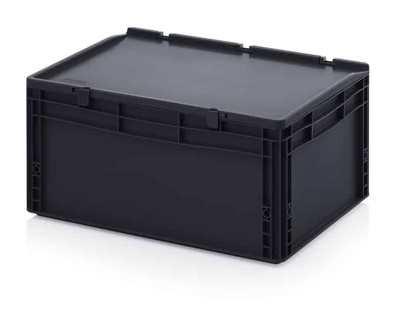 ESD-Eurobehälter / Eurobox mit Scharnierdeckel 60 x 40 x 28,5 cm AUER packaging