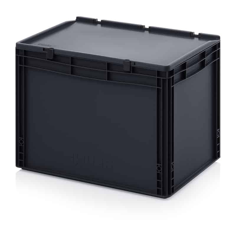 ESD-Eurobehälter / Eurobox mit Scharnierdeckel 60 x 40 x 43,5 cm AUER packaging