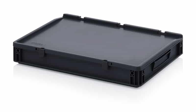 ESD-Eurobehälter / Eurobox mit Scharnierdeckel 60 x 40 x 9 cm AUER packaging