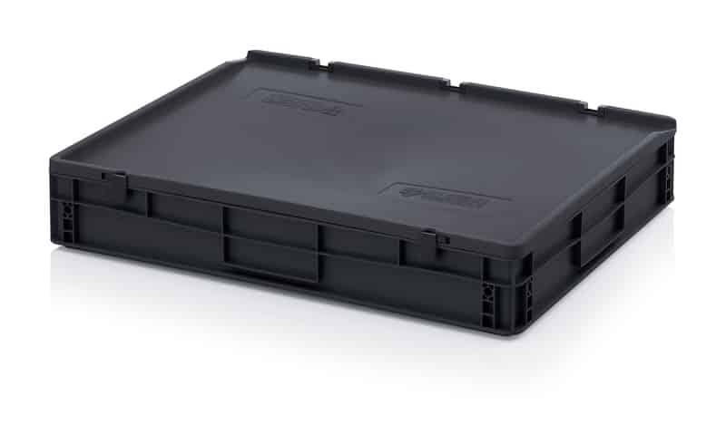 ESD-Eurobehälter / Eurobox mit Scharnierdeckel 80 x 60 x 14 cm AUER packaging