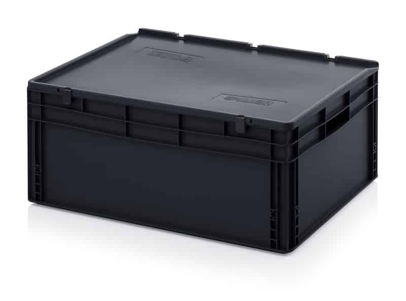 ESD-Eurobehälter / Eurobox mit Scharnierdeckel 80 x 60 x 33,5 cm AUER packaging