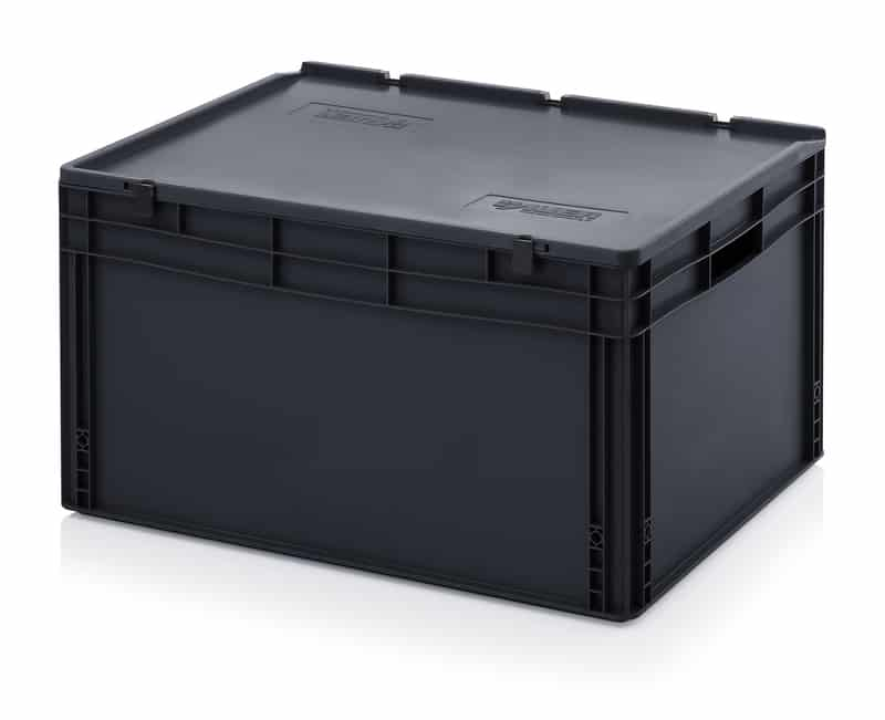 ESD-Eurobehälter / Eurobox mit Scharnierdeckel 80 x 60 x 43,5 cm AUER packaging