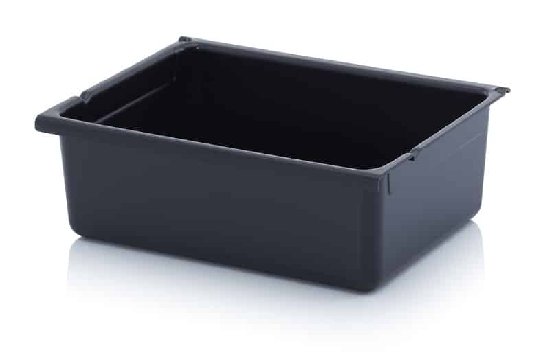 ESD-Schubladenbehälter Einzelkomponenten Verkehrsschwarz ähnlich RAL 9017 AUER packaging